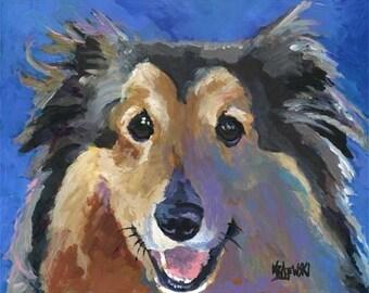 Shetland Sheepdog Art Print of Original Acrylic Painting - 8x10 Sheltie