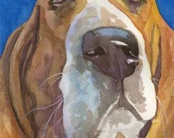 Basset Hound Art Print of Original Watercolor Painting - 11x14 Dog Art