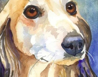 Saluki Art Print of Original Watercolor Painting - 8x10 Dog Art
