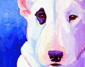 "Bull Terrier Art Print of Original Acrylic Painting 11x14"" Dog Art"