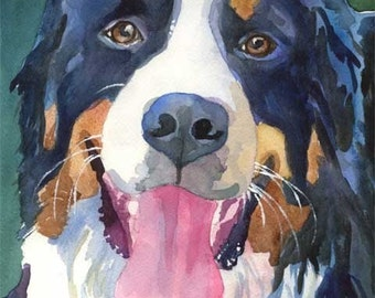 Bernese Mountain Dog Art Print of Original Watercolor Painting - 11x14