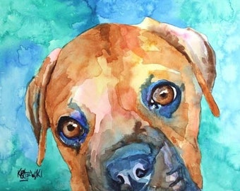 Boxer Art Print of Original Watercolor Painting - 8x10
