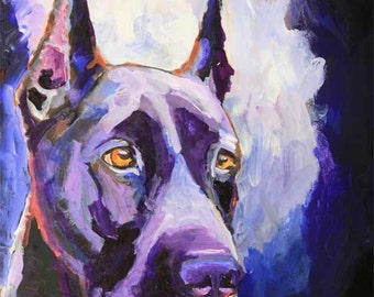 Great Dane Art Print of Original Acrylic Painting - 8x10 Dog Art