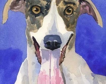 Greyhound Art Print of Original Watercolor Painting - 8x10