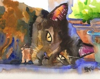 Tortie Cat Art Print of Original Watercolor Painting 8x10 Signed