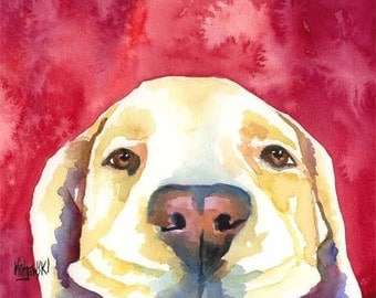 Labrador Retriever Art Print of Original Watercolor Painting - 11x14 Yellow Lab