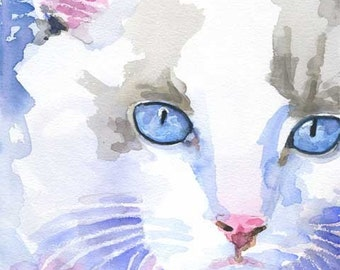 Ragdoll Cat Art Print of Original Watercolor Painting - 11x14
