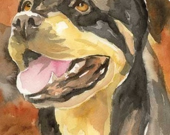 Rottweiler Art Print of Original Watercolor Painting - 8x10 Dog Art