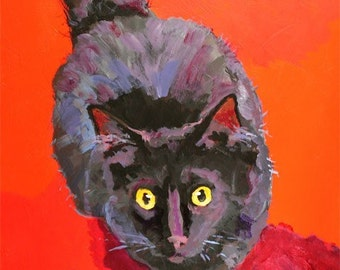 Black Cat Art Print of Original Acrylic Painting - 11x14