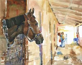 Horse Stable Art Print of Original Watercolor Painting 8x10
