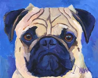 Pug Art Print of Original Acrylic Painting - 11x14
