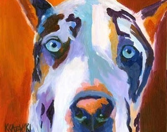 Great Dane Art Print of Original Acrylic Painting -  Dog Art 8x10