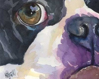 Boston Terrier Art Print of Original Watercolor Painting - Dog Art 8x10