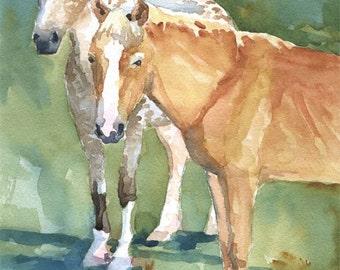 Two Ponies Art Print of Original Watercolor Painting 11x14
