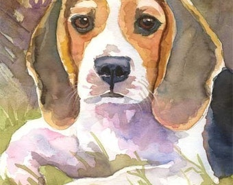 Beagle Art Print of Original Watercolor Painting - 11x14 Dog Art