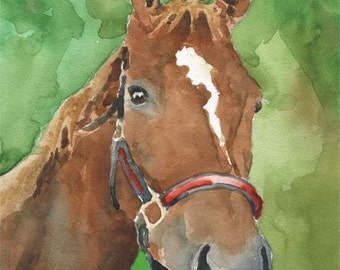 Chestnut Horse Art Print of Original Watercolor Painting 11x14