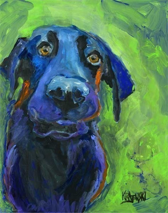 Labrador Retriever Art Print of Original Acrylic Painting - 8x10 Black Lab