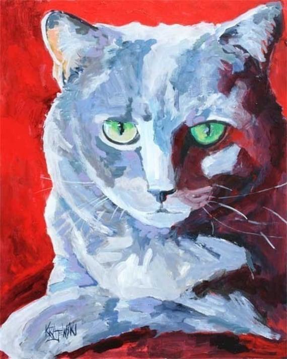 Russian Blue Cat Art Print of Original Acrylic Painting 8x10