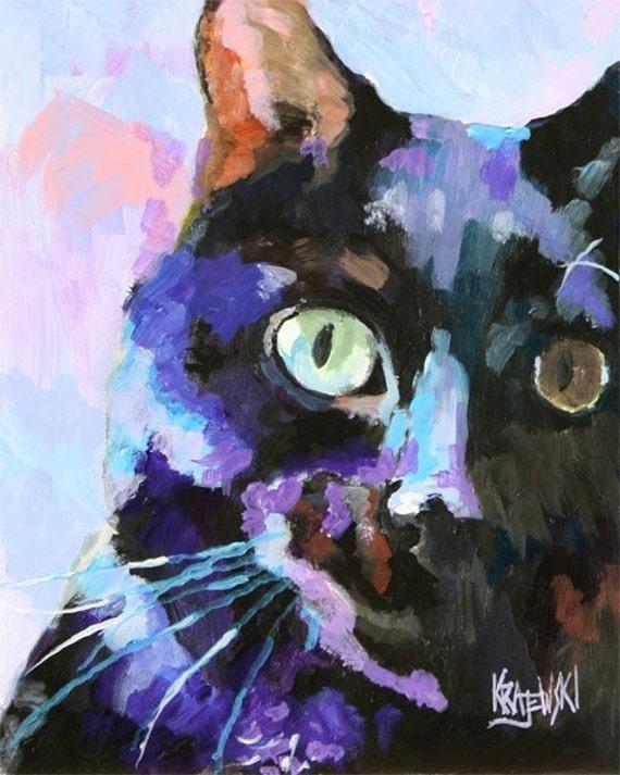 Black Cat Art Print of Original Acrylic Painting 11x14