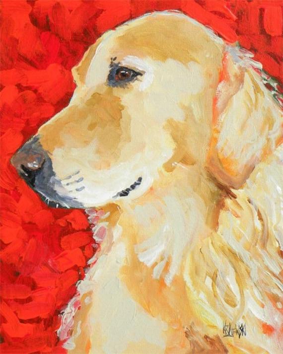 Golden Retriever Dog Art Signed Print by Ron Krajewski