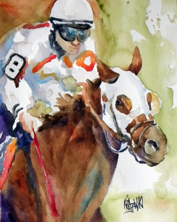 Thoroughbred Racehorse Original Watercolor Painting