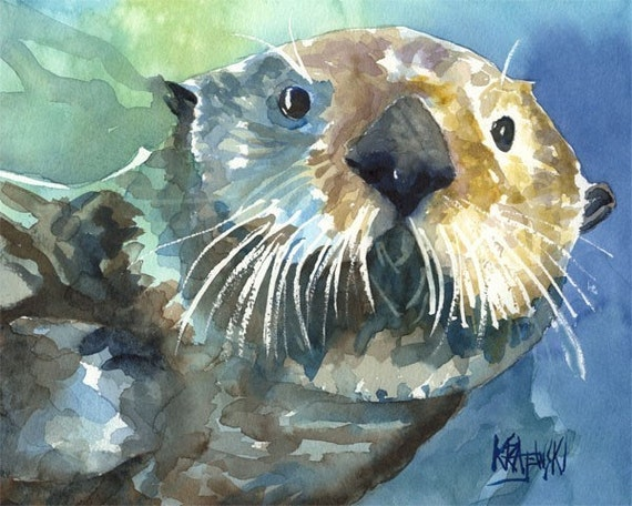 Sea Otter Art Print of Original Watercolor Painting - 11x14