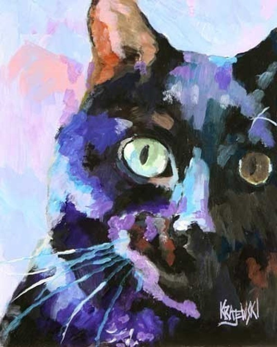 Black Cat Art Print of Original Acrylic Painting 8x10 Signed by Artist