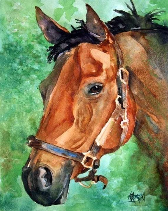 Bay Horse Art Print of Original Watercolor Painting - 8x10