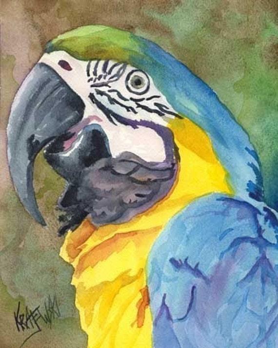 Macaw Art Print of Original Watercolor Painting 8x10