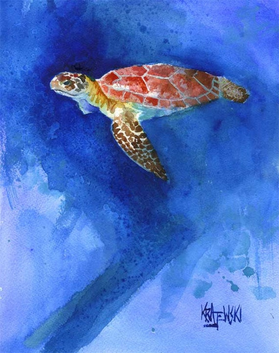 Sea turtle art print of original watercolor painting 8x10 for Turtle fish paint