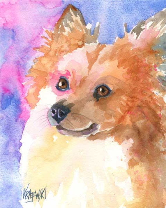 Pomeranian Art Print of Original Watercolor Painting - 8x10 Dog Art