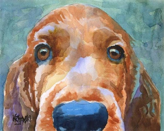 Irish Setter Art Print of Original Watercolor Painting - 8x10