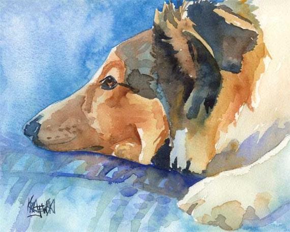 Shetland Sheepdog Art Print of Original Watercolor Painting - 8x10 Sheltie