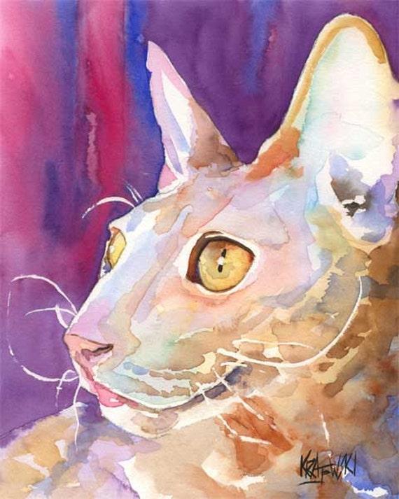 Cornish Rex Cat Art Print of Original Watercolor Painting 8x10