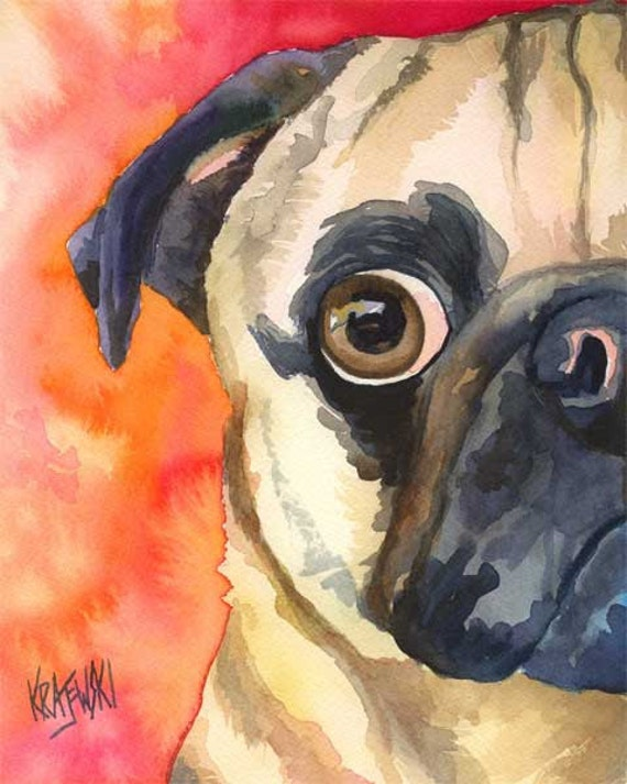 Pug dog art print of original watercolor painting 8x10 for Dog painting artist