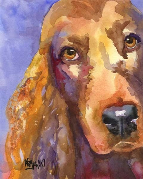 Irish Setter Art Print of Original Watercolor Painting - 11x14 Dog Art