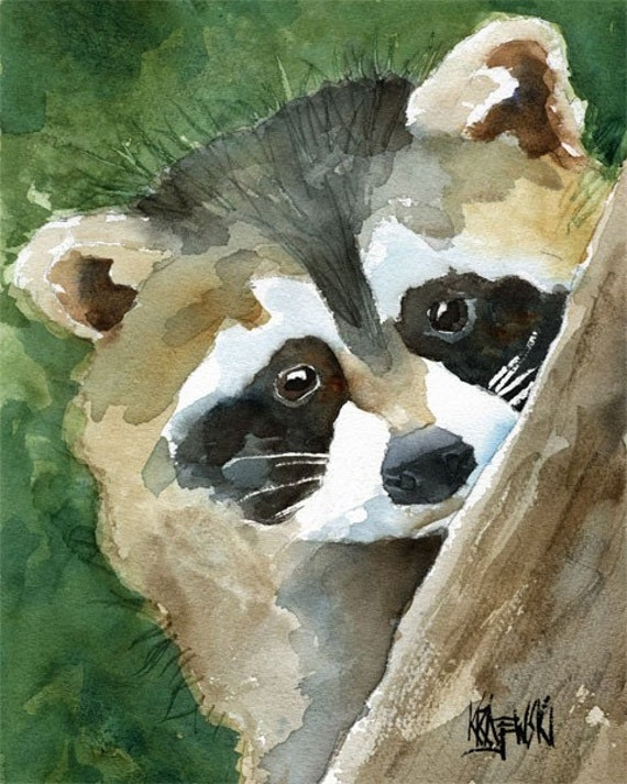 Raccoon Art Print of Original Watercolor Painting 11x14 Raccoon Painting