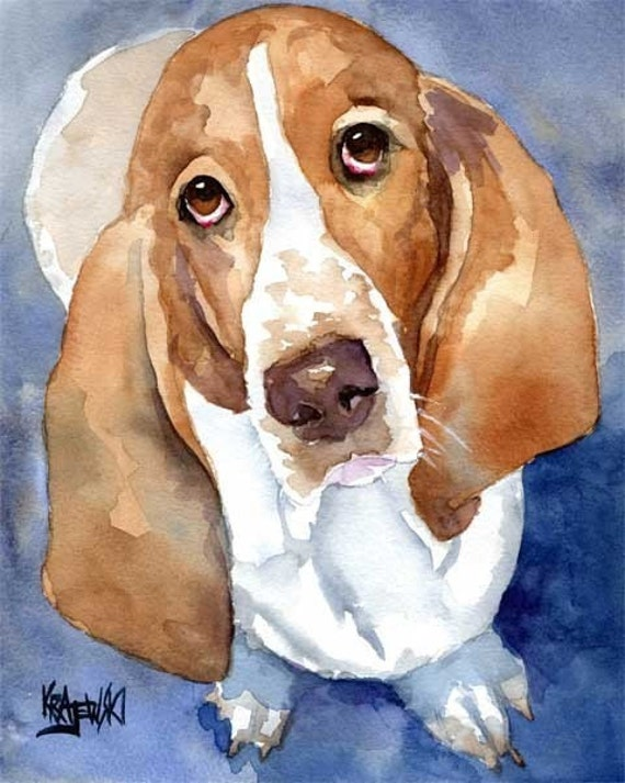 Basset hound art print of original watercolor painting 11x14 for Dog painting artist