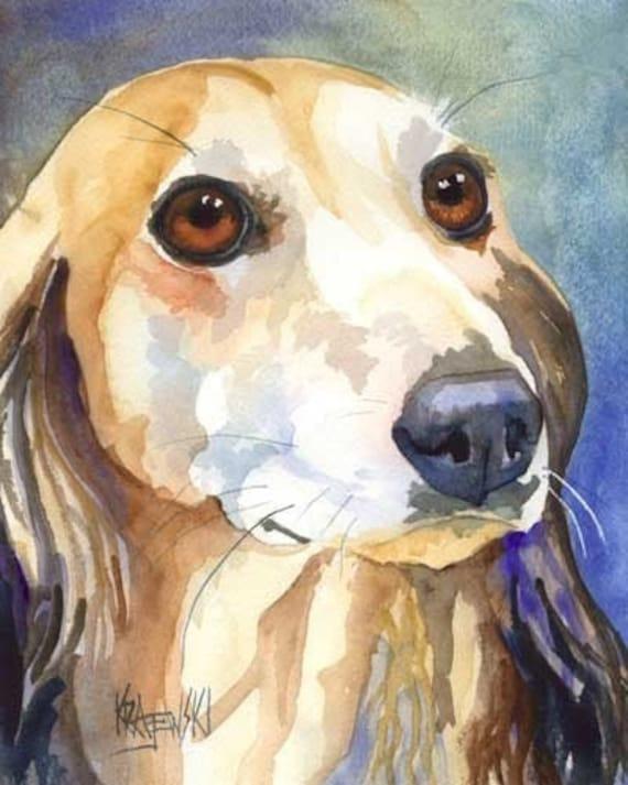 Saluki Art Print of Original Watercolor Painting - 8x10 Dog Art