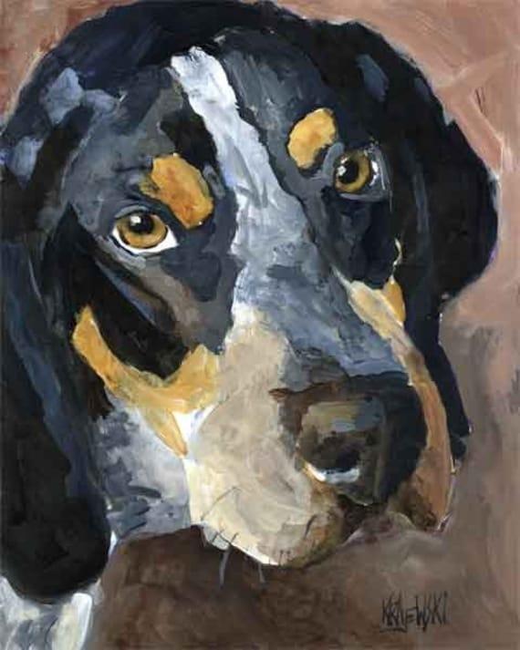 Bluetick Coonhound Art Print of Original Acrylic Painting - 11x14