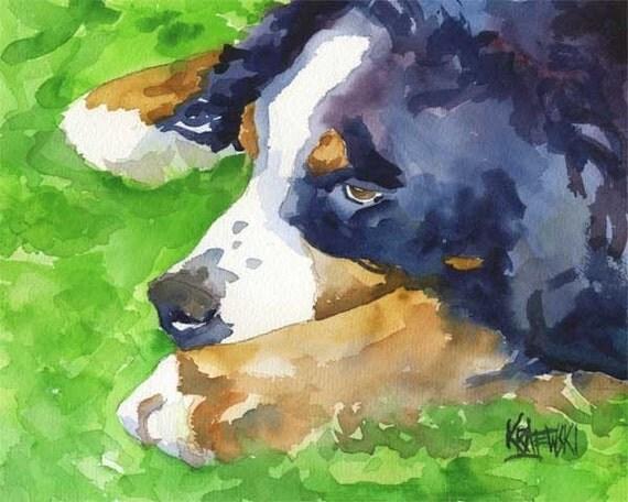 Bernese Mountain Dog Art Print of Original Watercolor Painting - 11x14