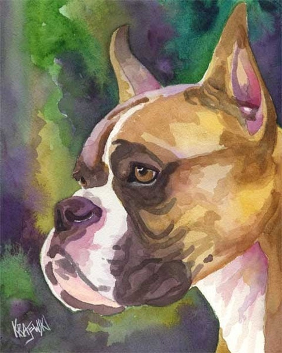Boxer dog art print of original watercolor painting 11x14 for Dog painting artist