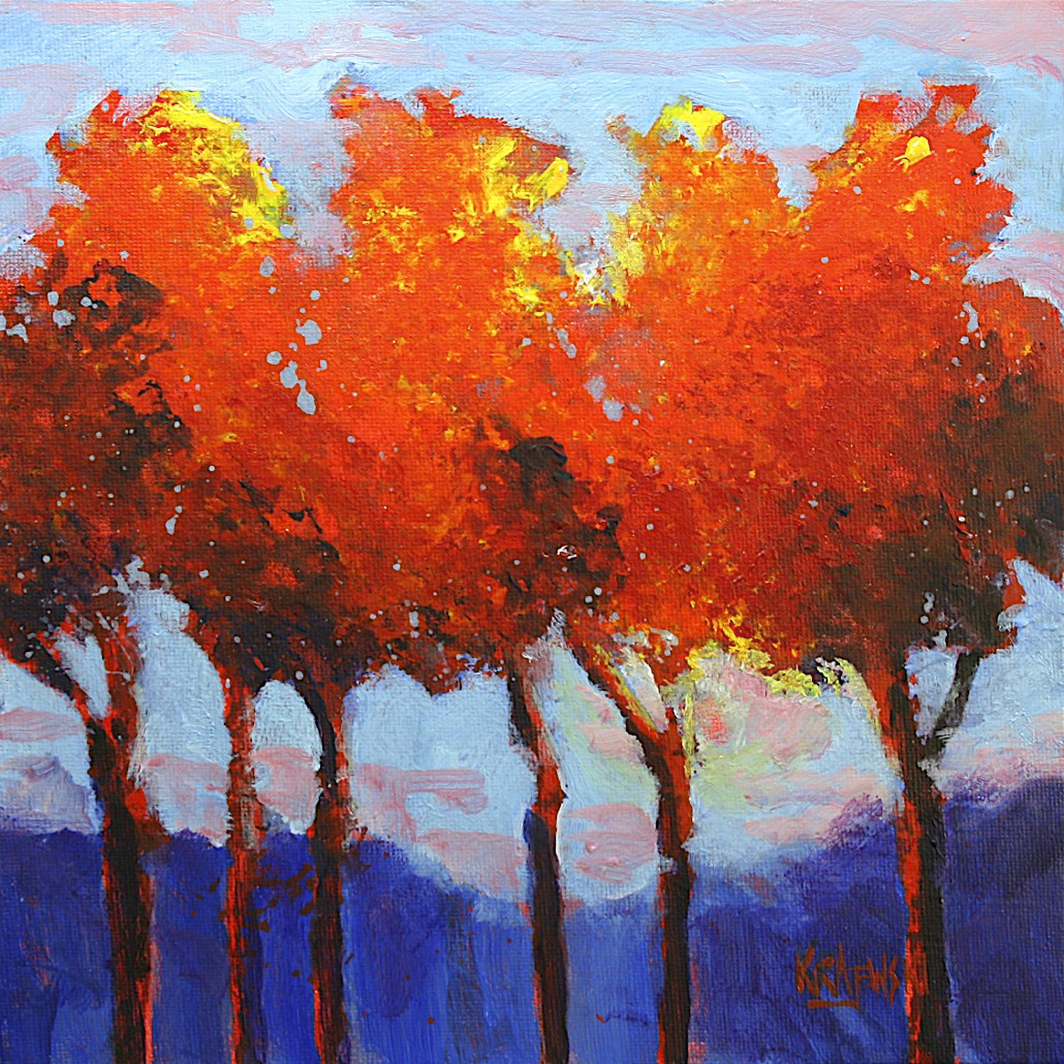 Autumn trees original acrylic painting 10x10 for Autumn tree painting