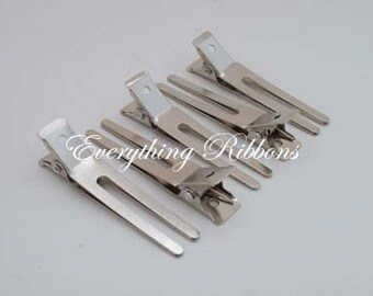 25 Double Prong Alligator Hair Pinch Clips - 1 3/4 inches (45mm) for Clippies, Hair Bows and Korkers - SEE COUPON