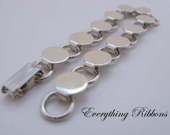 10 Disk and Loop Bracelet Form Blank 7.75 Inch with 9mm Glueable Pads - 10 PERCENT REFUND