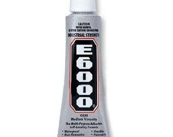 E6000 - 1 oz Jewelry and Craft Adhesive Glue for Cover Buttons, Bottle Caps, Magnets, Glass Pendents, Scrabble Tiles - SEE COUPON