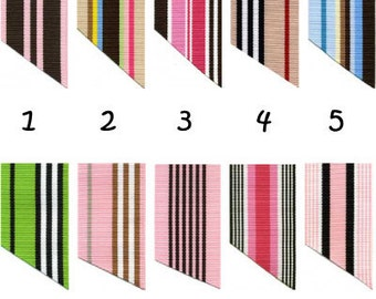 7/8 Inch Preppy Stripe Ribbon - 10 YARDS - for making Ribbon Key Fob Key Chains Wristlets - SEE COUPON