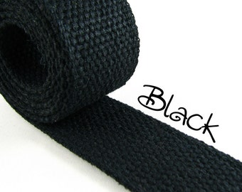 "Cotton Webbing - Black - 1.25"" Medium Heavy Weight for Key Fobs, Purse Straps, Belting - SEE COUPON"