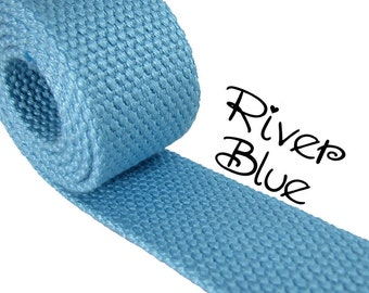 """Cotton Webbing - River Blue - 1.25"""" Medium Heavy Weight for Key Fobs, Purse Straps, Belting - SEE COUPON"""