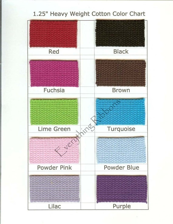 10 YARDS- 1.25 INCH Heavy Cotton Webbing for Key Fobs - YOUR COLOR(S) CHOICE - 10 PERCENT REFUND